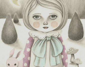 Original Pencil Drawing of a Big Eyed Girl in a Whimsical Dream, Nursery Wall Art, Graphite and Colored Pencil Art, Children's Illustration