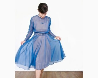 Vintage Etheral Dress . 1950s Bright Blue Party Dress