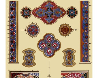 Decorative Home Wall Art from Old Spanish Moorish Patterns for Tiles. Ultramarine Blue, Rich Red, Leaf Green. Decorative Home Living Decor