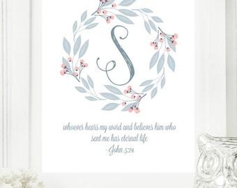 "Instant ""Monogram Scripture"" Wall Art Print 11x14 Typography Letter ""S"" Printable Home Decor"