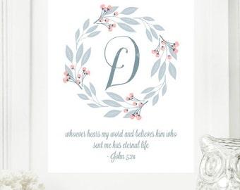 "Instant ""Monogram Scripture"" Wall Art Print 8x10 Typography Letter ""D"" Printable Home Decor"