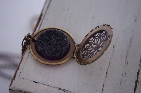 Brass Locket Necklace - Essential Oil Diffuser Necklace - Filigree Locket - Oil Diffuser Locket - Diffuser Necklace Homeopathic Aromatherapy