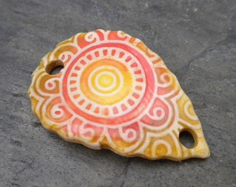 Mandala- handmade ceramic bracelet cuff bead coral yellow goldenrod