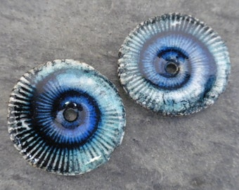 Spiral Discs- handmade ceramic artisan bead ammonite fossil tribal earring bead disc pair blue aqua 2077