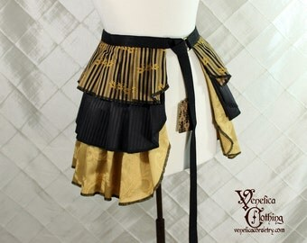 """Ruffle Bustle Overskirt - 3 Layer, Sz. M - Black and Gold Stripes w/Dragonflies - Fits any size 27"""" and up -- Ready to Ship"""