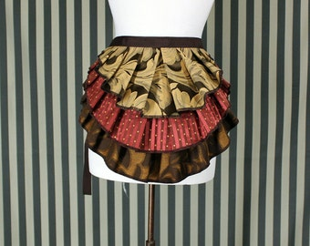 "Bustle Belt Overskirt - 3 Layer, Sz. XS/S - Espresso, Wheat, Russet, Copper - Best Fits up to 38"" Waist or Upper Hip"
