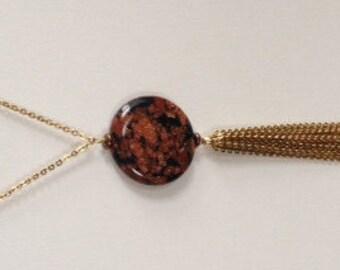 Golden red鞥black lantern made of natural stone, 32 inch copper sparkle jasper disc