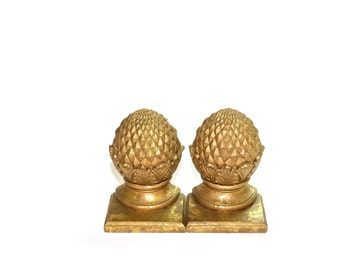 Pineapple Bookends Gold Bookends Pineapple Decor Gold Gilded Pineapple Bookends Set of 2 Bookends