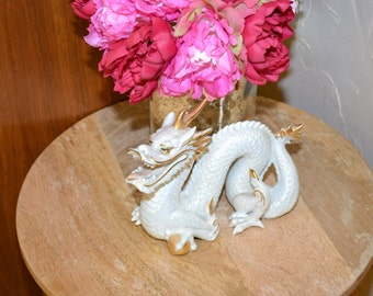 Porcelain Dragon Dragon Figurine Yoshimi K Dragon White Luster Dragon Blanc de Chine Dragon Chinoiserie