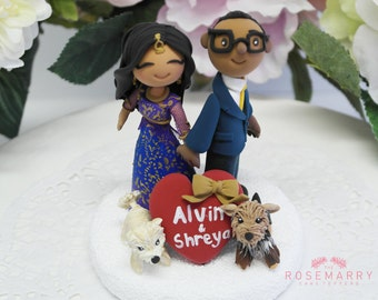 Custom Cake Topper- Indian traditional Wedding with pet