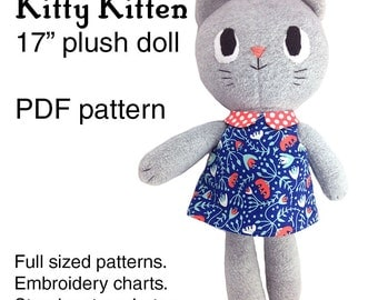 Kitty Kitten cat rag doll sewing pattern, soft toy plushie pattern, PDF instant download, A4 or letter