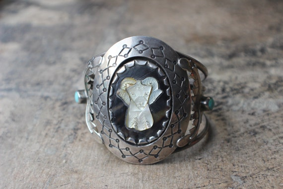 Rams Head Cuff / 1970's Huge Southwest  Bracelet / Vintage Unique Sterling Jewelry