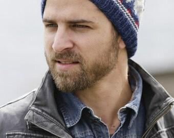 Mens Viking Beanie - Men's Fair Isle Wool Hat - Mens Norwegian Blue Gray Skully Hiking Biking Hand Knit Womens Hiking Hat (Made to Order)