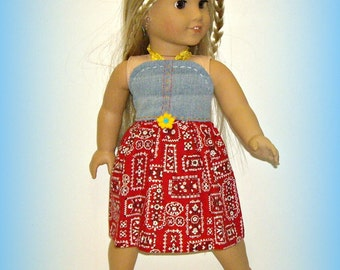 "70s Style Halter Doll Sundress by traveller240, Fits 18"" Soft Body Dolls such as American Girl, Handmade Doll Clothes in Blue and Red"