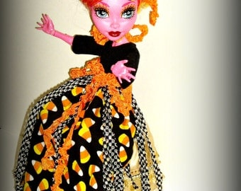 Handmade Clothes for 17 inch Monster High Dolls, Halloween Candy Corn, MH Doll Dress, Hallows Eve Outfit, Adult Collectors, by traveller240