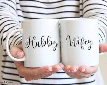 Hubby and Wifey Coffee Mug Set, Wifey Mug, Hubby Mug, Engagement Mugs, Engagement Gift, Wedding Gift, Couple Mugs, Couple Coffee Cups, W0016