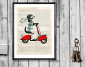 DACHSHUND ON MOPED doxie vespa art print scooter  wall decor vintage book page dictionary art