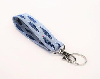 Keychain, Key Fob, Wristlet Lanyard, Nautical, Fish and Hearts, Grey