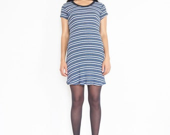 90s Striped Rib Knit T-shirt Mini Dress