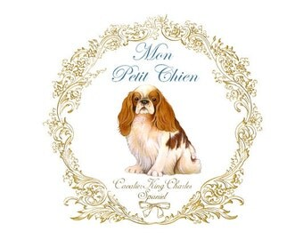 Cavalier King Charles Spaniel print - dog art - pet portrait 5x7 dog print
