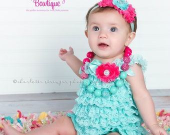 Baby Girl Outfits, Aqua Cake Smash Outfit - Baby Girl 1st Birthday Outfit - Aqua & Pink Baby Romper - Baby Girl Birthday Dress  Mint clothes