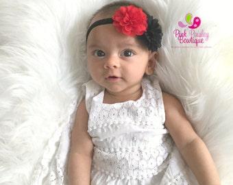 Baby Headband - Red & Black Bows - Baby Girl Headband - Newborn Hairbows - Baby Hairbows - Baby Hair Accessories - Black Baby Headbands
