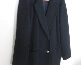 """Black 100% Wool Coat Jacket Women's Medium Made in USA """"KAREN"""""""