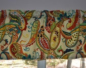 Paisley Valance . Whimsy Paisley  Multi Color  by Covington . Kitchen Valance . Handmade by Pretty Little Valances