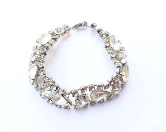 Glamorous Rhinestone Tennis Bracelet Teardrop Vintage Bridal Retro Fashion Jewelry