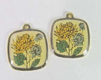 2 Vintage Golden Yellow and Blue Enamel Mum Pendant Charm Pd794