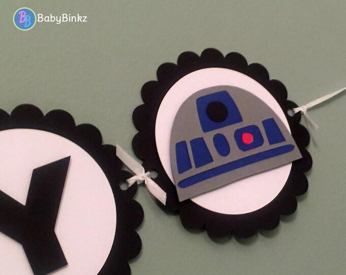 Star Wars Inspired Banner - Yoda R2D2 Darth Vader Happy Birthday die cut custom force awakens jedi inspired