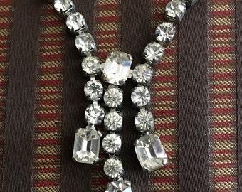 Vintage Crystal rhinestone drop necklace antique 1940s costume jewelry diamonds drop