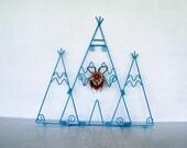 3 Plate Display Rack Native American Turquoise Teepee Hanger Southwestern Wall