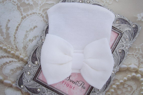 Newborn Hospital Hat, white with white bow, baby hat, lil miss sweet pea, infant beanie, shower gift, baby girl hat, hat with bow