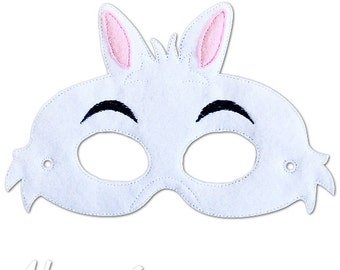White Rabbit Mask Embroidery Design, alice in wonderland mask, machine embroidery, ITH mask, in the hoop mask, embroidered mask, 5x7, 6x10
