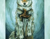 Clearance Sale: Wolf Print / COLOR DEFECTS / King of Swords Tarot Card, 8x10 Wall Art, Animal Totem, Blue and Turquoise, Animism Tarot Deck