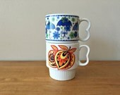 Vintage Stacking Mugs Orange & Blue Japan Coffee Cups Mismatched Mugs