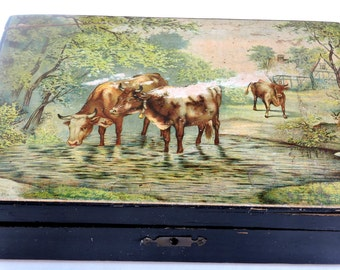 Vintage Wooden Box, Decoupage Country Scene,Desk Accessory,Trinket Box