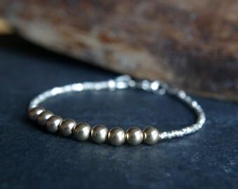 Hill Tribe Silver and 14/20 gold filled beads bracelet **ON SALE** Tiny bracelet - Delicate bracelet - Minimalist bracelet - 7 inches long