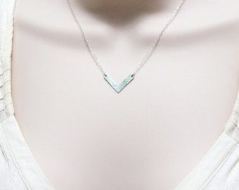 Simple Minimal Necklace, Hammered V Necklace, Sterling Silver Chevron, Small Charm, Modern Handmade Jewelry, Delicate Necklace