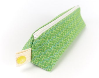 Green Vintage Fabric Pencil Case Cute Hipster Style Small Make Up Bag Stands Up Study Gift College Accessory