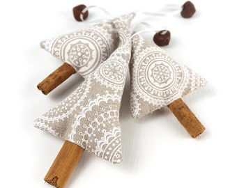 Rustic Christmas Decorations Neutral Christmas Decor Cinnamon Xmas Tree Ornaments Linen Fabric Decoration Jingle Bells