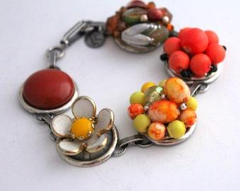 Coral Bracelet, Orange Bracelet, Recycled Bracelet, Daisy Jewelry, Upcycled Recycled Repurposed Jewelry, Pantone Peach Echo, Mothers Day