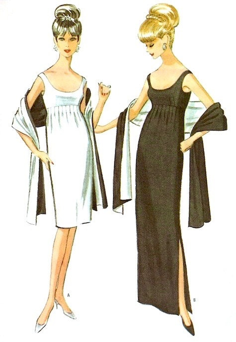 Black and white evening ensembles by Pauline Trigère, 1964