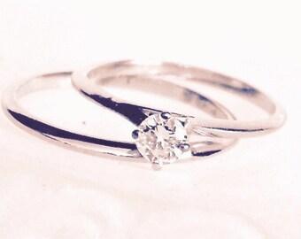 Vintage Diamond Solitaire 14K White Gold Engagement Ring Set, Wedding