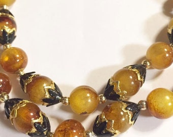 Vintage Double Stranded Amber Brown Beaded Necklace Hong Kong