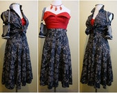 RESERVED for Atomicgirl56 !!!!! Vintage 1950's Navy Blue and White Hawaiian 50's Summer Blouse Top Circle Skirt Sun Dress