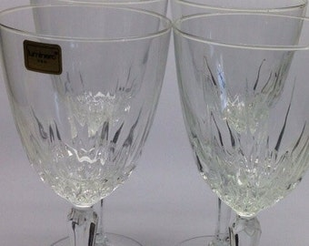 Crystal WIne Glasses Luminarc USA Crystal Stemmed 4 glasses Vintage