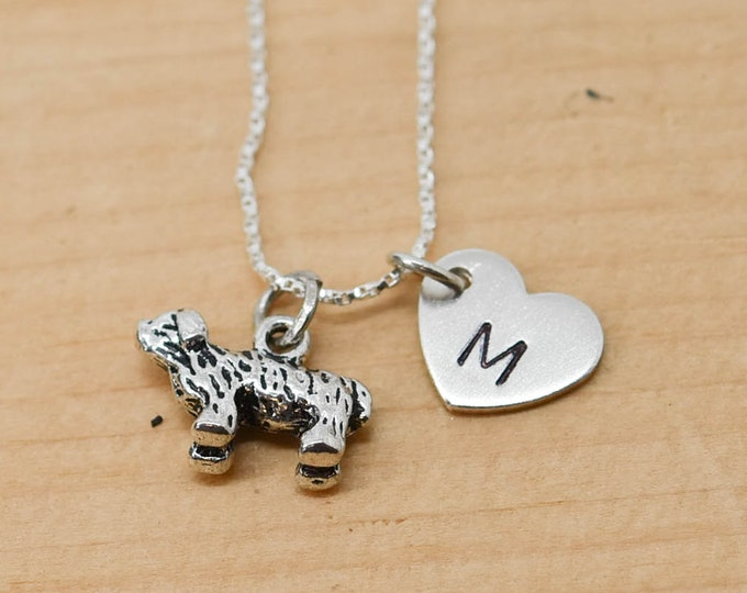 Bichon Necklace, Dog Charm, Dog Pendant, Initial Necklace, Personalized Necklace, Sterling Silver Necklace, Charm Necklace, Bridesmaid Gift