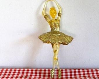 vintage ballerina tree ornament - GOLDEN BALLERINA acrylic figurine